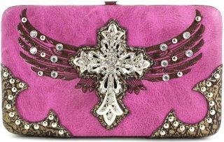 Accessories Plus Rhinestone Wing & Cross Flat Clutch Wallet