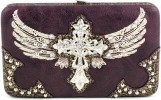 Accessories Plus Rhinestone Wing & Cross Handbag