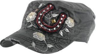 Accessories Plus Rose and Horseshoe Patch Military Cap