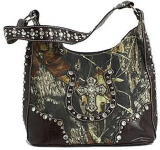 Accessories Plus Tall Camo Horseshoe and Cross and Rhinestone Purse