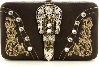 Accessories Plus Western Buckle Flat Clutch Close Wallet