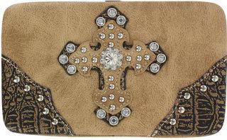 Accessories Plus Western Rhinestone Cross Clutch Wallet