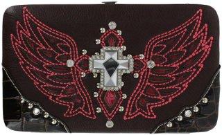 Accessories Plus Winged Cross Flat Clutch Wallet