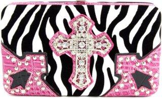 Accessories Plus Zebra Cross Flat Clutch Wallet
