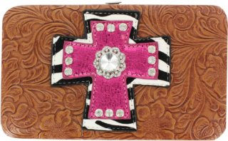 Accessories Plus Zebra Cross Tooled Leather Wallet