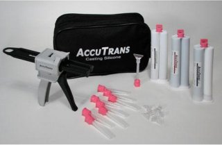 AccuTrans Starter Kit 75 ml Brown/White/Transparent Cartridge 40 Mixing Tips 10 Spatula Dispensing Gun 6 Spreader Tips Nylon Bag