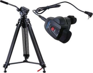 Acebil i-605DX Prosumer Tripod System with RMC-1DVX Lens Zoom Controller 6.6 lbs Payload