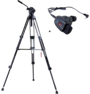 Acebil i-705DX 2-Stage Compact Lightweight Aluminum Tripod with #705 75mm Ball Leveling Head - Bundle - with Acebil RMC-1DVX Video Lens Zoom Controller for Panasonic Mini DV or HDV Camera with Stereo Mini Jack