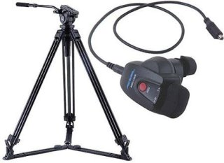 Acebil J-805GX Prosumer Tripod System with RMC-1AVR Video Lens Zoom Controller for Sony 8.8 lbs Payload