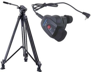 Acebil J-805GX Prosumer Tripod System with RMC-1DV Video Lens Zoom Controller for Sony/Canon LANC 8.8 lbs Payload