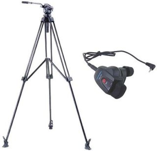 Acebil J-805MX Prosumer Tripod System with RMC-1DV Video Lens Zoom Controller for Sony / Canon DV / HDV Cameras 8.8 lbs Payload