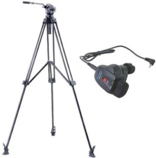 Acebil J-805MX Prosumer Tripod System with RMC-1DVX Video Lens Zoom Controller for Panasonic Mini DV / HDV Cameras 8.8 lbs Payload