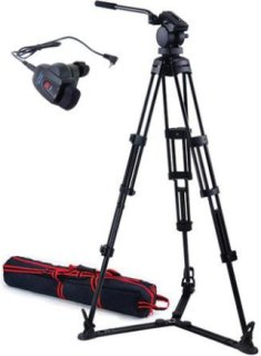 Acebil P-22 Tripod System with H20 Video Head & Ground Spreader & Free RMC-1DVX Zoom Controller Supports 13 lbs.