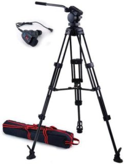 Acebil P-22 Tripod System with H20 Video Head Mid Spreader & Free RMC-1DV Zoom Controller Supports 13 Lbs.