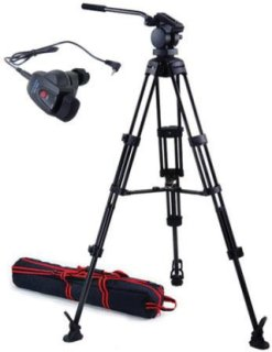 Acebil P-22 Tripod System with H20 Video Head Mid Spreader & Free RMC-1DVX Zoom Controller Supports 13 Lbs.