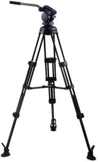 Acebil P-22MX Professional Tripod System with QR Video Pan Head T752 Aluminum Tripod MS-3 Middle Brace RF-3 Foot Supports 13.2 lbs Max Height 65""