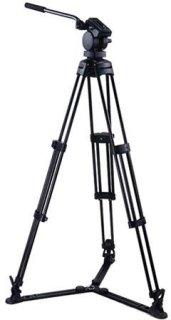 Acebil P-30GX Professional Tripod System with QR Video Pan Head T750 Aluminum Tripod GS-3 Ground Spreader Supports 17.6 lbs. Max Height 63""