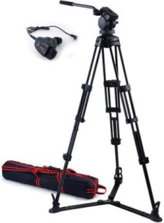 Acebil P-32 Tripod System with H30 Video Head Ground Spreader & Free RMC-1DV Zoom Controller Supports 17 Lbs.