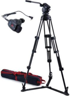Acebil P-32 Tripod System with H30 Video Head Ground Spreader & Free RMC-1DVX Zoom Controller Supports 17 Lbs.