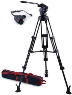 Acebil P-32 Tripod System with H30 Video Head Mid Spreader & Free RMC-1DV Zoom Controller Supports 17 Lbs.
