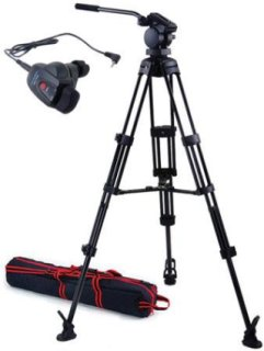 Acebil P-32 Tripod System with H30 Video Head Mid Spreader & Free RMC-1DVX Zoom Controller Supports 17 Lbs.