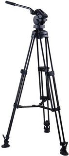 """Acebil P-50MX Professional Tripod System with H50 Fluid Head T750 Aluminum Tripod MS-3 Mid Level Spreader RF-3 Rubber Foot S-50 Carry Case Max Height 63"""" Supports 22 lbs."""