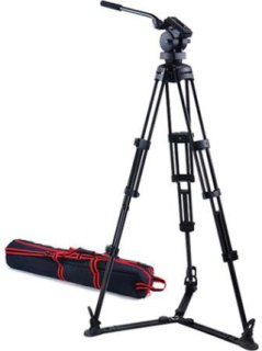 """Acebil P-52GX Professional Tripod System with H50 Fluid Head T752 Aluminum Tripod GS-3 Ground Spreader S-52 Carry Case Max Height 67"""" Supports 22 lbs."""