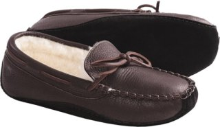 Acorn Bison Leather Slippers