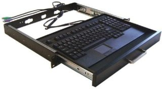 """Adesso ACK-730PB-MRP PS/2 19"""" 1U Keyboard Drawer with Built-In Easy-Touch Keyboard with Touchpad Black"""