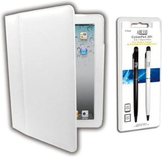 Adesso White Designer Case and 2-in-1 Stylus Pens for iPad & iPad 2/3