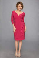 Adrianna Papell 3/4 Sleeve Lap Over Dress
