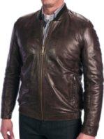 Andrew Marc Cash Leather Bomber Jacket