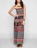Angie Elephant Print Smocked Maxi Dress