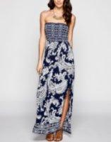 Angie Paisley Print Smocked Maxi Dress