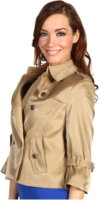 Anne Klein Luster Cloth Cropped Trench Coat