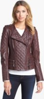 Ashley B Zip Trim Quilted Leather Moto Jacket X-Small