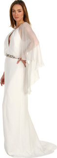 Badgley Mischka Cape Sleeve Gown