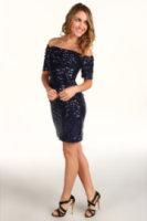 Badgley Mischka Rouched Silver Sequin Dress