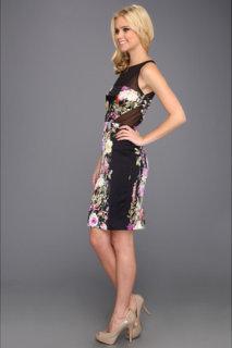 Badgley Mischka Silk Print Sheath Dress