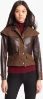 Barbour Gold Ashford Leather & Waxed Cotton Capelet Jacket 10