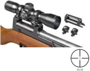 Barska 4 x 32 Compact Contour Series Riflescope Matte Black Finish with 30/30 Reticle SKS Rifle Mounting Base and Rings.