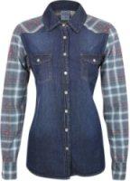Bila Long Sleeve Denim and Plaid Western Shirt