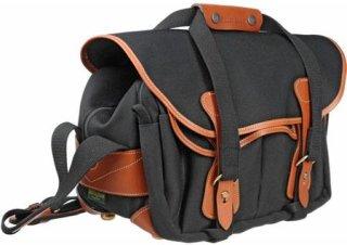 Billingham 225 SLR Camera Shoulder Bag Black with Tan Trim.