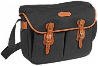 Billingham Hadley Large SLR Camera System Shoulder Bag Black Canvas with Tan Leather Trim and Brass Fittings
