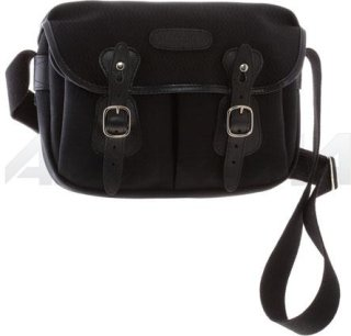 Billingham Hadley Small Camera or Document Shoulder Bag Black Canvas with Black Leather Trim and Nickel Fittings.