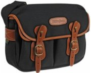 Billingham Hadley Small Camera or Document Shoulder Bag Black Canvas with Tan Leather Trim and Brass Fittings.
