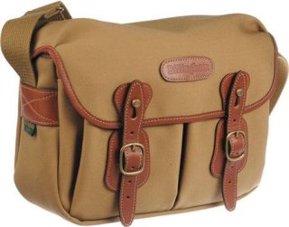 Billingham Hadley Small Camera or Document Shoulder Bag Khaki Canvas with Tan Leather Trim and Brass Fittings.
