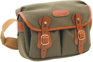 Billingham Hadley Small Camera or Document Shoulder Bag Sage Canvas with Tan Leather Trim and Brass Fittings.