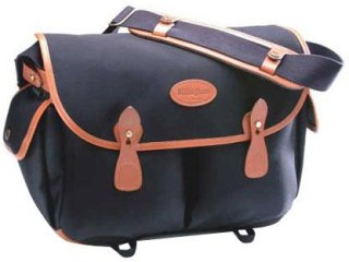 Billingham Photo Packington Notebook & Camera Shoulder Bag Black with Tan Leather Trim and Brass Fittings.