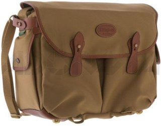 Billingham Photo Packington Notebook & Camera Shoulder Bag Khaki with Tan Leather Trim and Brass Fittings.